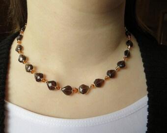 Smoky quartz heart necklace, Swarovski necklace, Heart necklace, Valentine necklace, Valentine gift