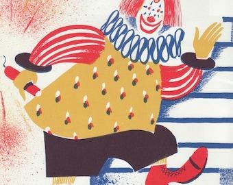 1940s Circus Clown illustration by Leonard Weisgard, Vintage Wall Art Print 1942 childrens picture book, Margaret Wise Brown PRNT01033