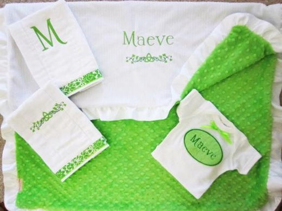 Personalized Baby Gifts Ireland : Personalized irish baby blanket minky blanketceltic