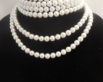 Six Strand, 8mm White Glass Pearls Choker