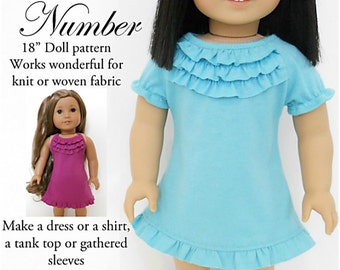 Pixie Faire Ardently Admire Magic Number Dress and Top Doll Clothes Pattern for 18 inch AG Dolls - PDF