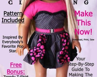 Pixie Faire Liberty Jane Get The Look Dress Doll Clothes Pattern for 18 inch American Girl Dolls - PDF