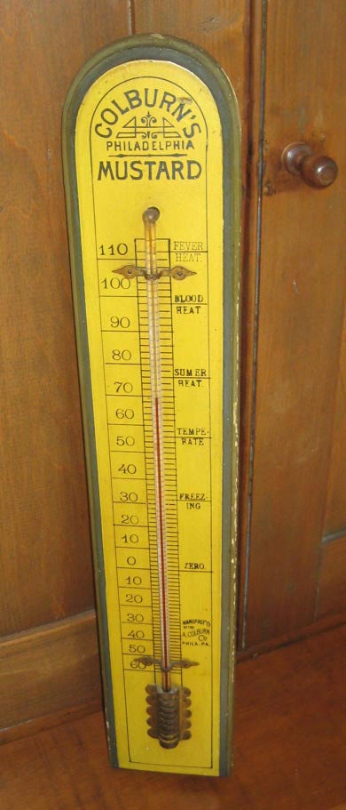 Antique Large Advertising Thermometer Colburn S Mustard