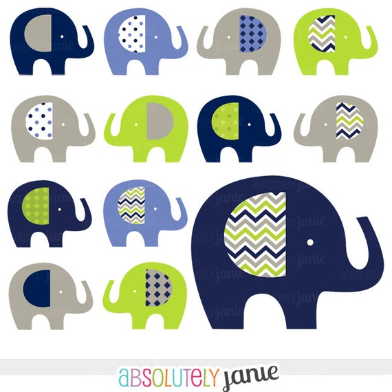 Navy Lime Grey Baby Elephant Digital Clipart by ...