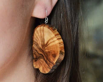 Wooden earrings - every day, simple, unique earrings eco friendly accessory