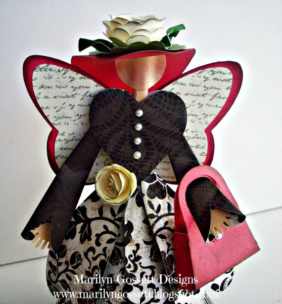 "8"" tall, Chic, Romantic Country Angel.  Handcrafted from Damask papers and cardstock"