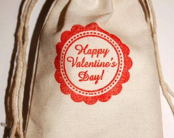 Valentine's Day Favors, 3x5 Muslin Favor Bags, Happy Valentine's Day Gift Bags, Treat Bags, Goody Bags, Valentines Day for kids Party Favors