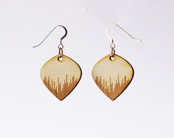 Striped Wooden Earrings - Laser cut earrings - wooden earrings - gifts for her