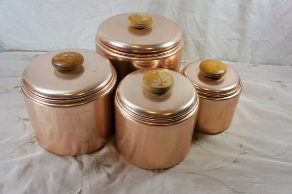 pink canisters kitchen coppertone canister set pink aluminum mirro 4 14554