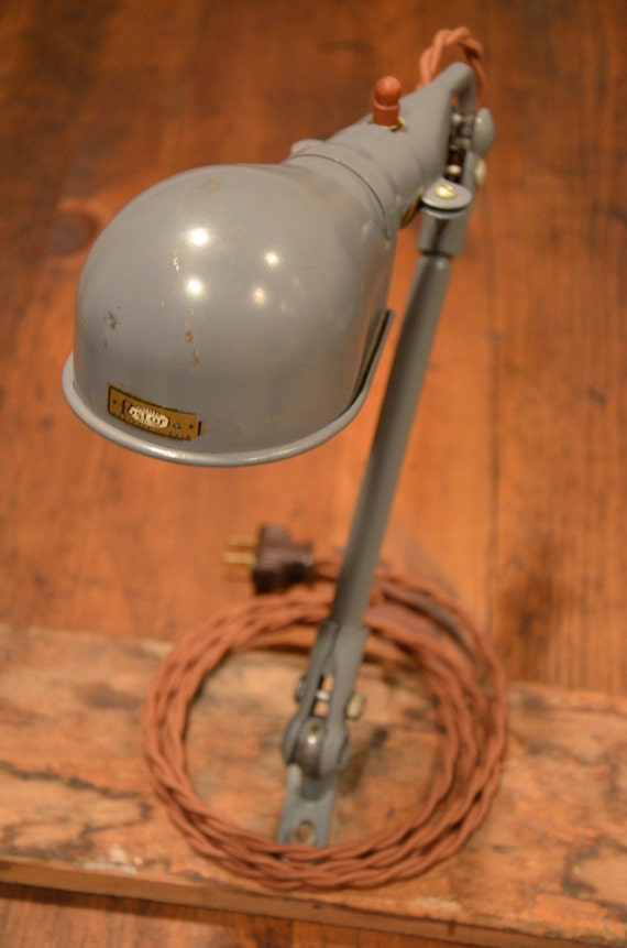 industrial articulating task lamp vintage fostoria by. Black Bedroom Furniture Sets. Home Design Ideas