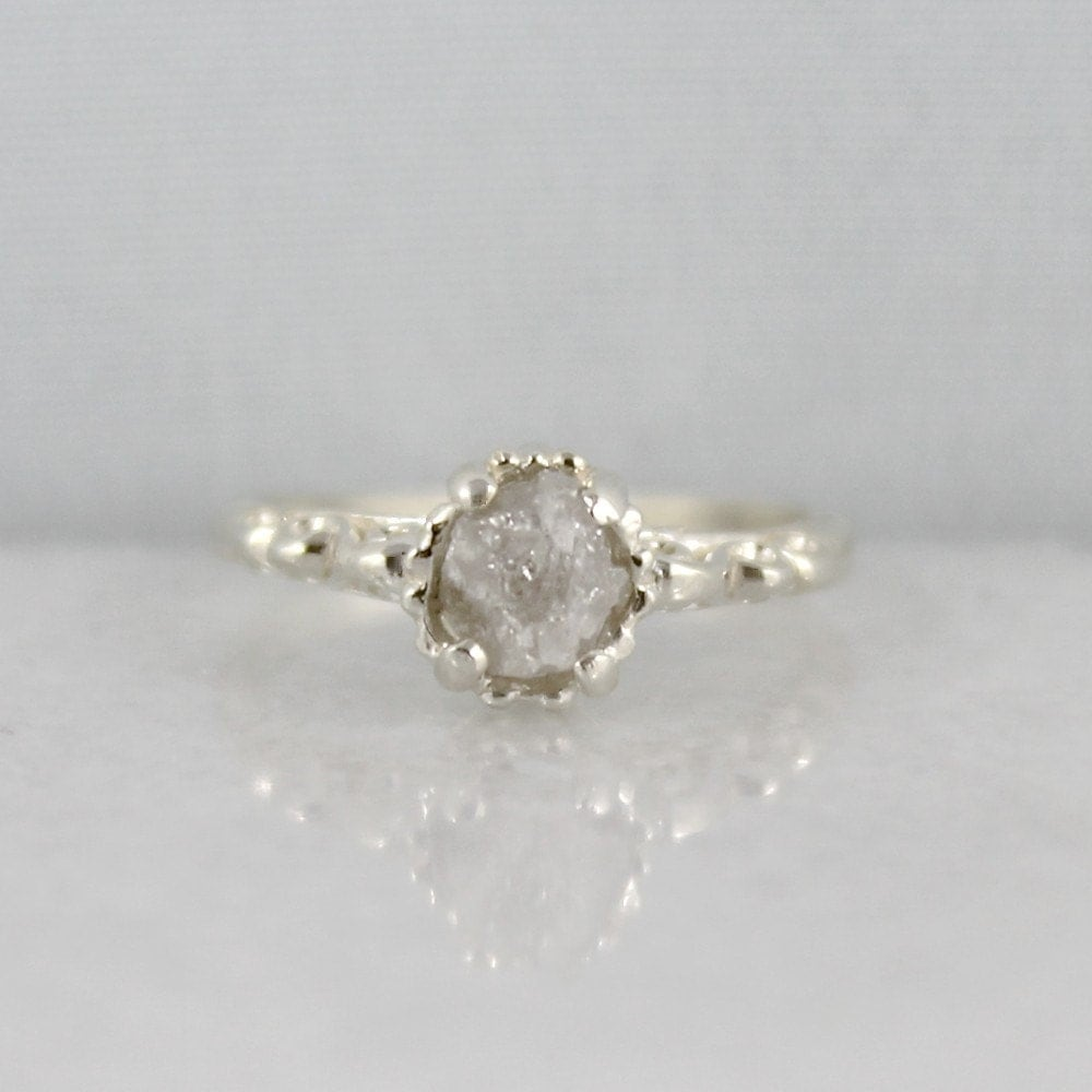 Raw Uncut Rough Diamond Ring Sterling Silver by EngagedJewelry