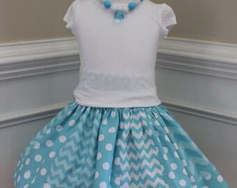 chevron skirt girls skirt polkadot skirt aqua chevron birthday skirt set birthday outfit chevron set chevron outfit summer cinderella skirt