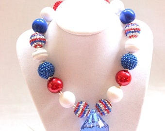 July 4th girls chunky bubblegum bead necklace chunky bead necklace for girls bubble gum bead bubblegum bead patriotic necklace