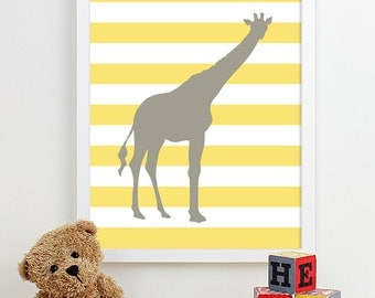 Giraffe Nursery Art Prints Jungle Animals Nursery Girl Boy Bedding Modern Decor Safari Nursery Wall Art