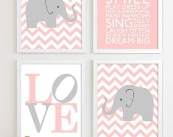 Baby Girl Nursery Art Chevron Elephant Nursery Prints ...