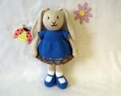 Toy doll bunny knitting pattern. Bina the Bunny. Floppy eared bunny with paws. PDF instant download toy knitting pattern
