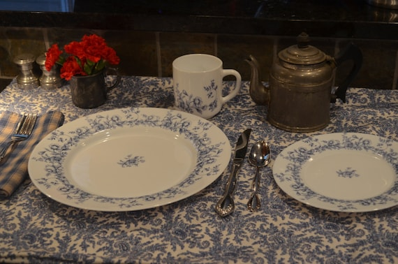 Four Settings Arcopal Glenwood pattern  dinnerware dishes made in France /  blue white dinnerware set  / cottage chic / French country chic