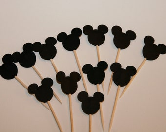 12 Black Mickey Mouse Cupcake Topper