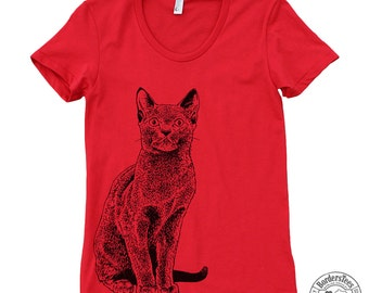 Women's RUSSIAN BLUE CAT American Apparel Poly-Cotton Tee