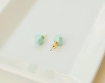 Mint Geometric Stud Earrings - Geo Earrings - Simple - Minimalist - Modern Jewelry- Lightweight