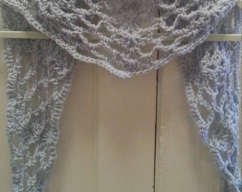 Crochet Pattern Scarf Lace Neckwarmer Cowl Inifnity Button SALE