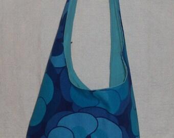 Blue Flower Hippy Sling Bag. vintage 1970's fabric