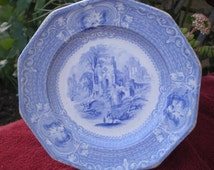 Antique Blue Transfer Ware Plate - Abbey - Livesly Powell - England - Antique Collectible - Wedding Gift - English Country Decor -Cottage -R