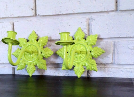 Chartreuse Candle Sconces Lime Green Wall By Currentclassic