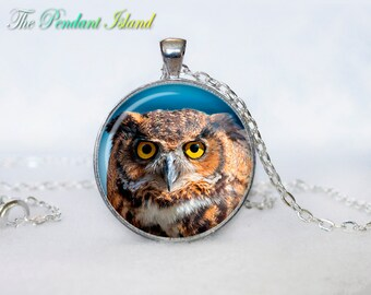 OWL PENDANT   owl necklace White owl Jewelry Necklace for him  Art Gifts for HerArt Gifts (P10009)