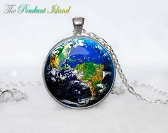 EARTH PENDANT solar system jewelry planet earht pendant earth jewelry  Galaxy necklace universe pendant for men blue planet