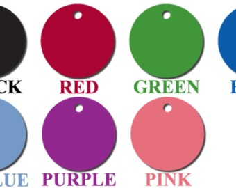 CLOSEOUT SALE - Custom Engraved Cat or Small Dog Pet ID Tag - Small Circle Shape, Limited Quantities and Colors Remaining