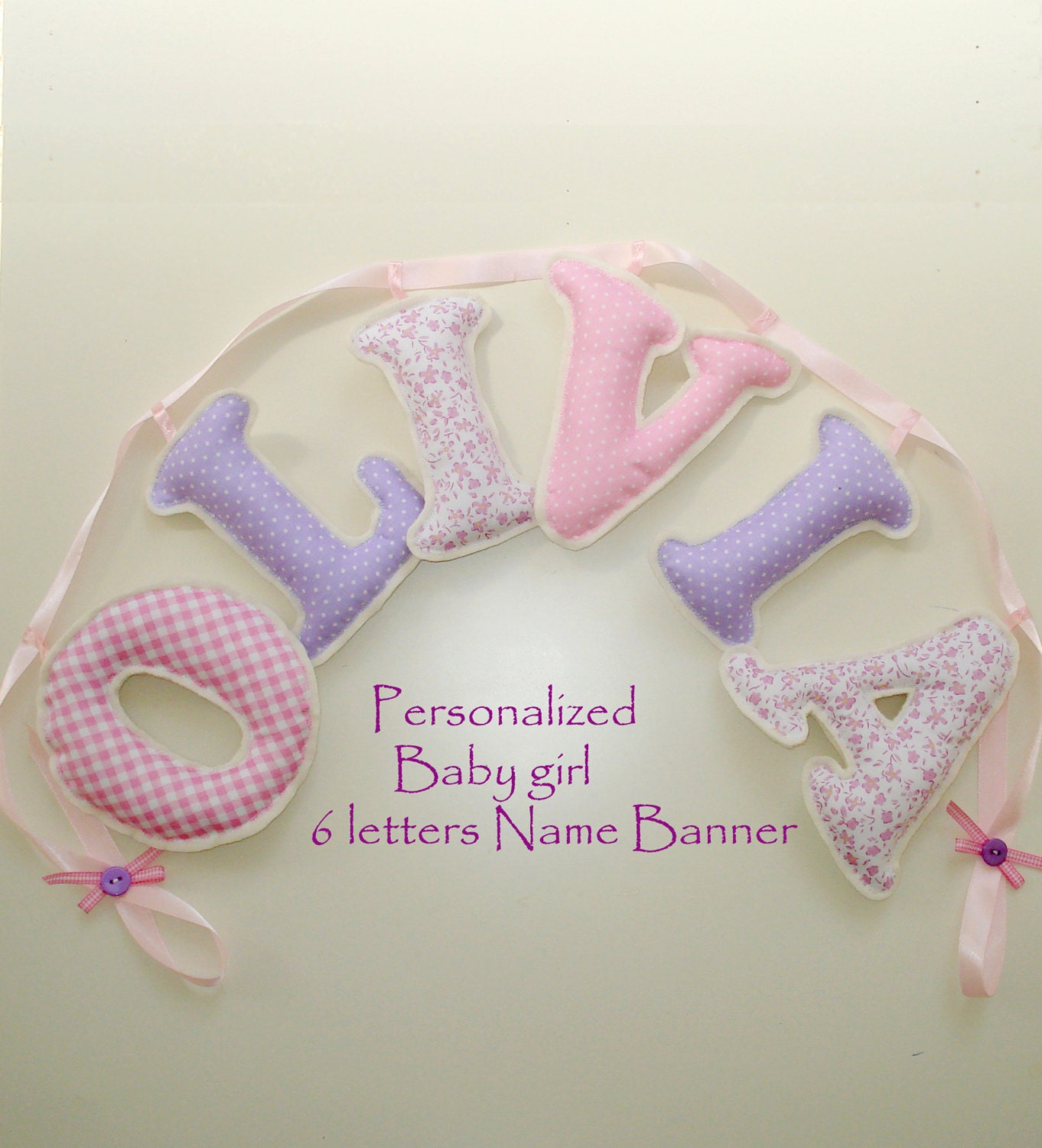 Fabric letter name banner girl 39 s room name banner pink for Baby girl fabric