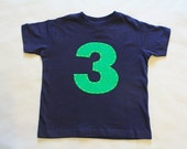 Boys Birthday Shirt Navy Blue T-Shirt with Embroidered Green 2, First, Second, Third Birthday Shirt, 1st, 2nd, 3rd, 4th, 5th Birthday