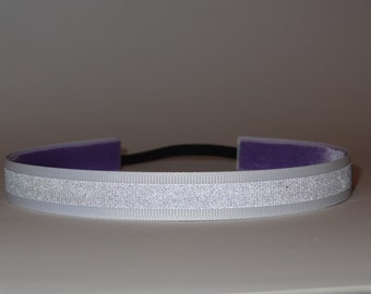 reflective non slip headband great for running, walking, biking at night .picture shows it reflecting