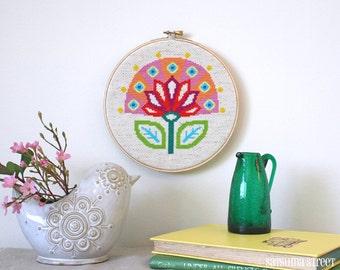 Bloom - Retro Scandi Flower - Satsuma Street Modern cross stitch pattern PDF - Instant download