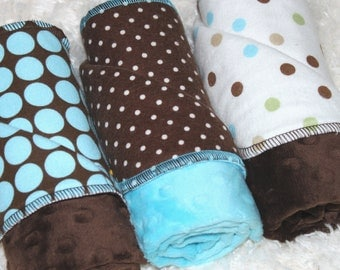 Baby Burp Cloths, Turquoise and Brown Dots Burp Cloths