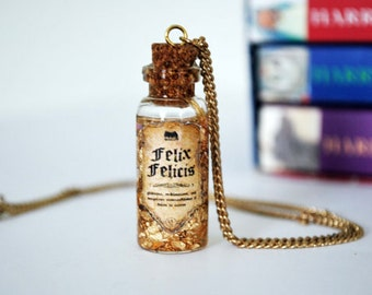 Harry Potter Inspired Potion Bottle Necklace: Felix Felicis, liquid luck, HP necklace, Pottermore jewelry, Hogwarts potion, fantasy necklace