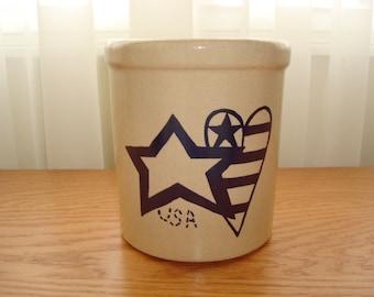 Vintage Pottery Crock - Stars & Stripes Crock - Robinson Ransbottom Pottery - RRP High Jar