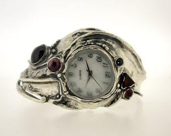 Handcrafted 925 Sterling Silver Watch, Cuff Bracelet, Garnet