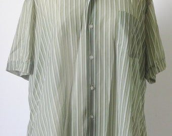 Vintage 1960s Mod Olive Green & White Pinstripe Short Sleeve Shirt- Size XXL