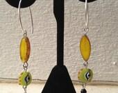 Evil Eye Opal Yellow Spindle Dangling Earrings