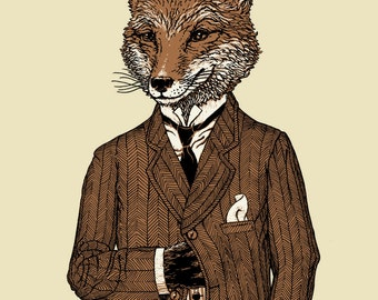 Fox Print - Fox Wall Print - Foxes Prints - 8 x 10 Animal Art - Fox Wall Art - Illustration - The Dapper Fox