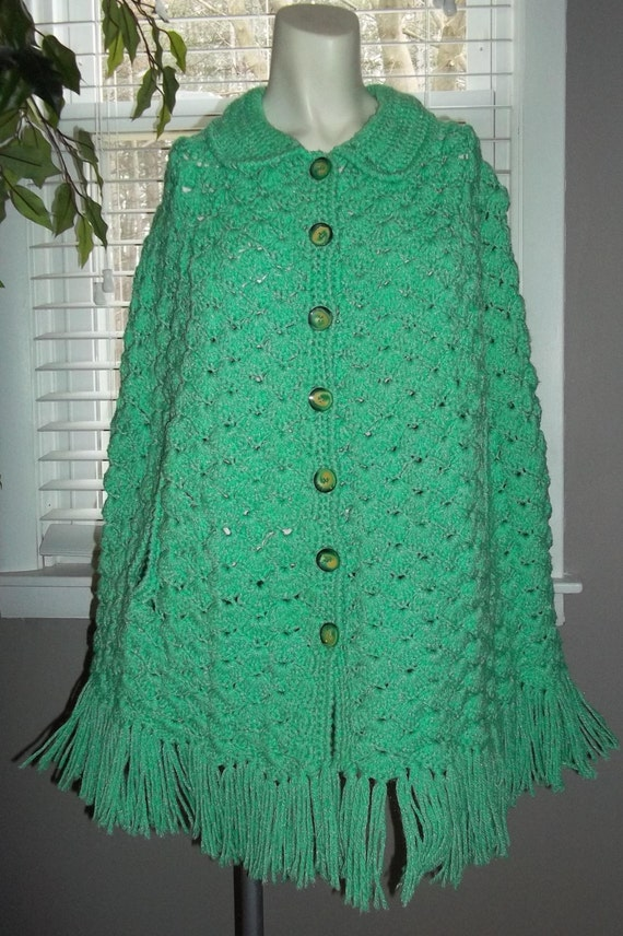 lovely sea green vintage shawl jacket