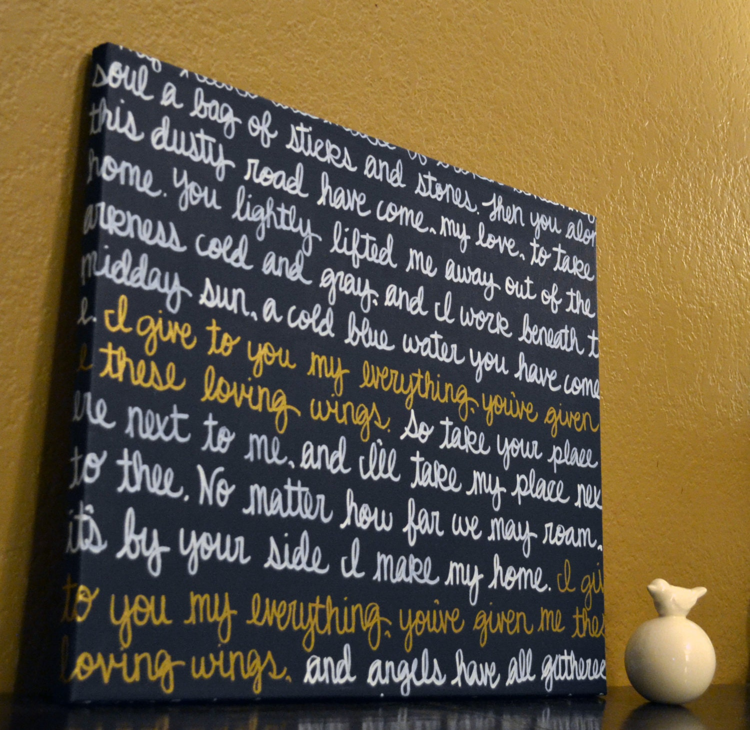 Wall Art Canvas Song Lyric Art Painting Navy Blue And White