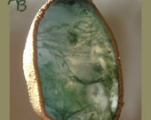 Vintage Moss Agate Crystal Chunky Pendant Gold Wrapped Natural Healing