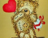 Oil Painting for Children's Room Teddy Bear Original Wall Decoration Unique Present Gift for Childern Decor Sweet Heart Art - ArtFilc