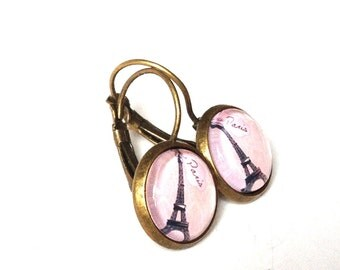 earrings Eiffel Tower rose