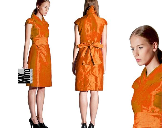 Seidenkleid Wickelkleid Kimono style ORANGE Brautkleid Standesamt japanisch asiatisch