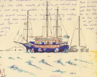 Travel Sketch: Ships at Mykonos