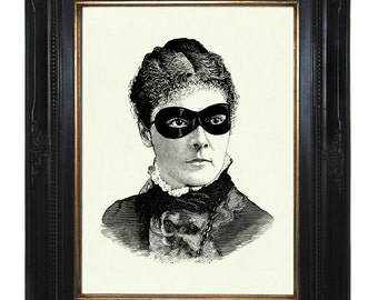 Masked Victorian Art Print Lady Woman Steampunk Portrait Art Print Halloween Ball Mask Gothic Costume